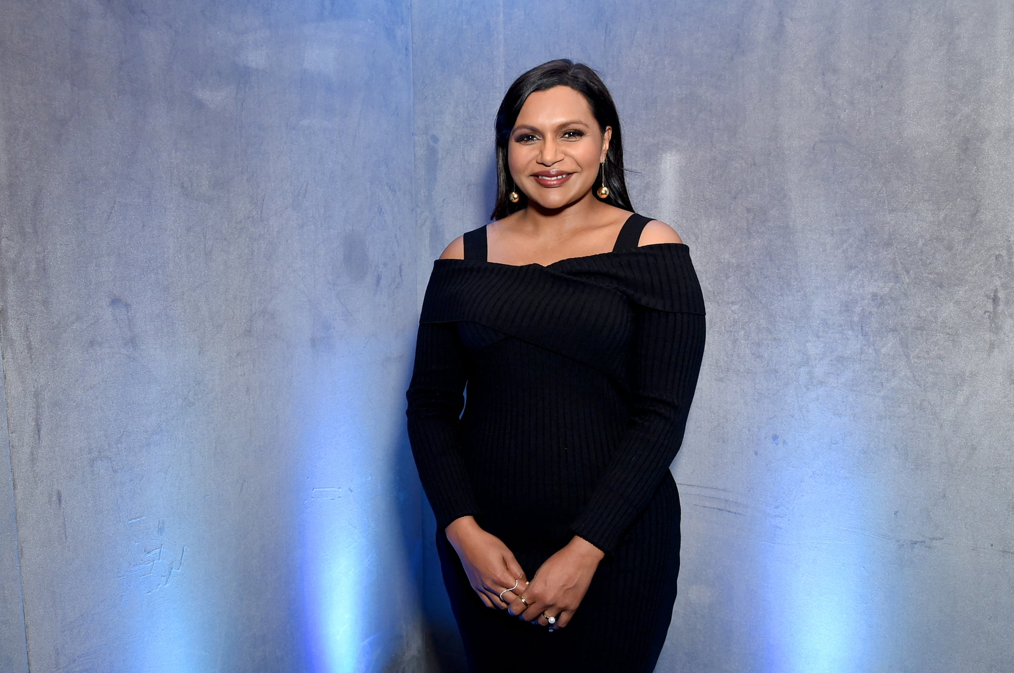 NEW YORK, NY - MAY 02:  Mindy Kaling poses for a photo in the Hulu Upfront 2018 Green Room at The Hulu Theater at Madison Square Garden on May 2, 2018 in New York City.  (Photo by Mike Coppola/Getty Images for Hulu)