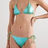 Les Girls Les Boys Green Metallic Triangle Bikini