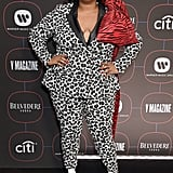 As if the black and white leaopard print suit didn't look good enough on its own, Lizzo paired the outfit with a pair of boots à la Cruella Deville that create the coolest optical illusion.