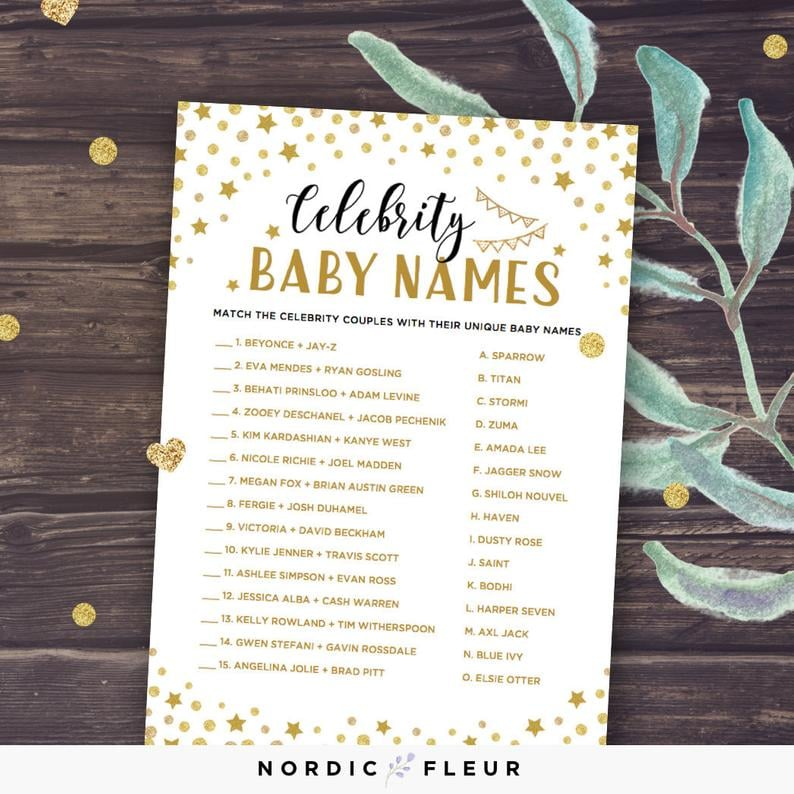 graphic relating to Celebrity Baby Name Game Printable named Superstar Little one Names Printable Matching Match Printable