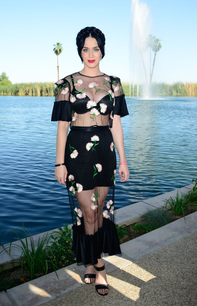 Katy Perry channeled her romantic side in a sheer, floral dress at the Soho Desert House.