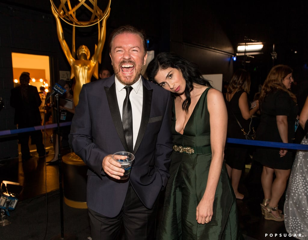 Ricky Gervais and Sarah Silverman shared a moment backstage.