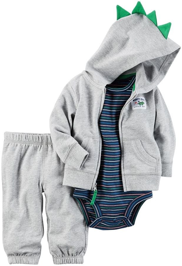 Baby Dinosaur Cardigan, Bodysuit, and Jogger Pants Set