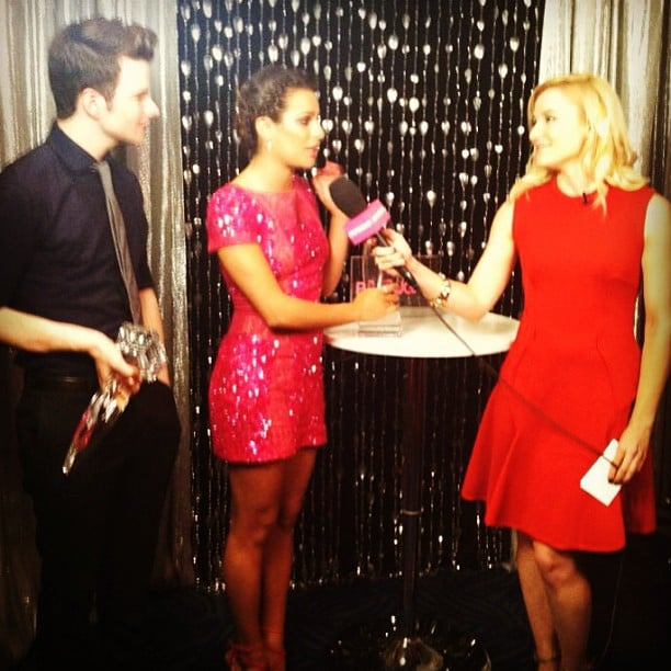 Glee stars Chris Colfer and Lea Michele hung out backstage with PopSugar's Lindsay Miller at the PCAs. Source: Instagram user PopSugar