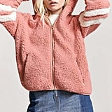 Forever 21 Varsity Faux Shearling Hooded Jacket