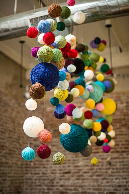 DIY Yarn Chandelier