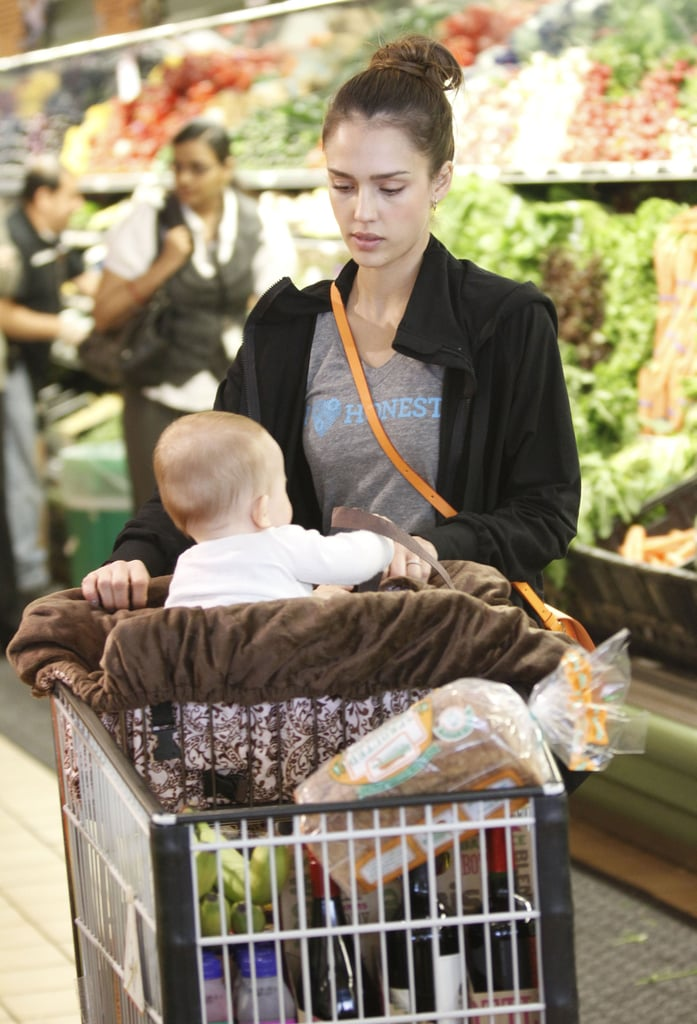 Jessica Alba with daughter Haven Warren food shopping at Whole Foods Market in LA.