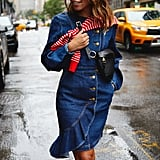 I chose a bolder color to layer over my denim, but you can do the same with a standout pattern or jumper with a busy print.