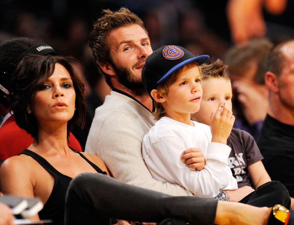 Victoria Beckham joined David Beckham and the boys at a Lakers game in October 2009.