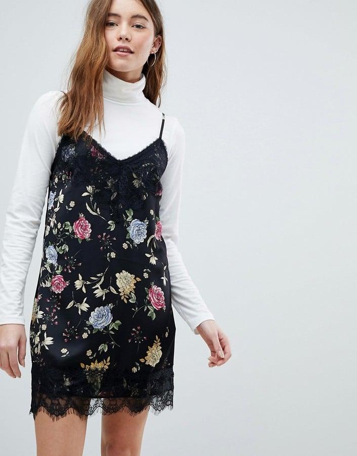 0a305118a5df Bershka Floral Lace Insert Slip Dress