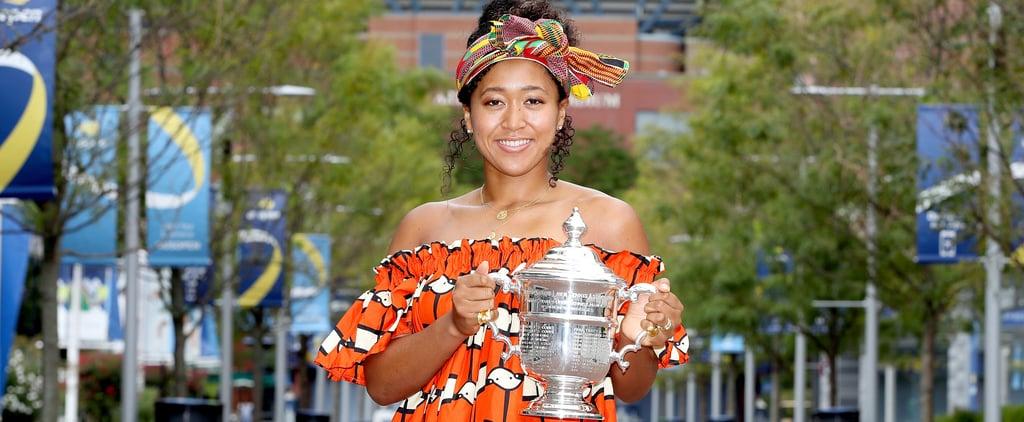 Naomi Osaka's 2020 US Open Head Wrap and Orange Dress