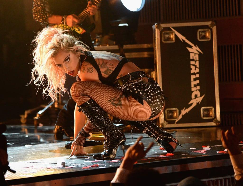Lady Gaga's Rhinestone Eye Makeup at the 2017 Grammys