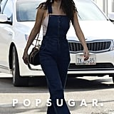 In February, Selena kicked it back to the '70s in her vintage Wrangler overalls. She styled the look with a neutral camisole and cognac, block-heel sandals. The singer completed the look with a Louis Vuitton circle bag.