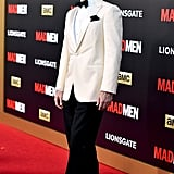 Jon Hamm looked elegant in a champagne suit jacket, completing his look with a black silk bow tie and handkerchief.