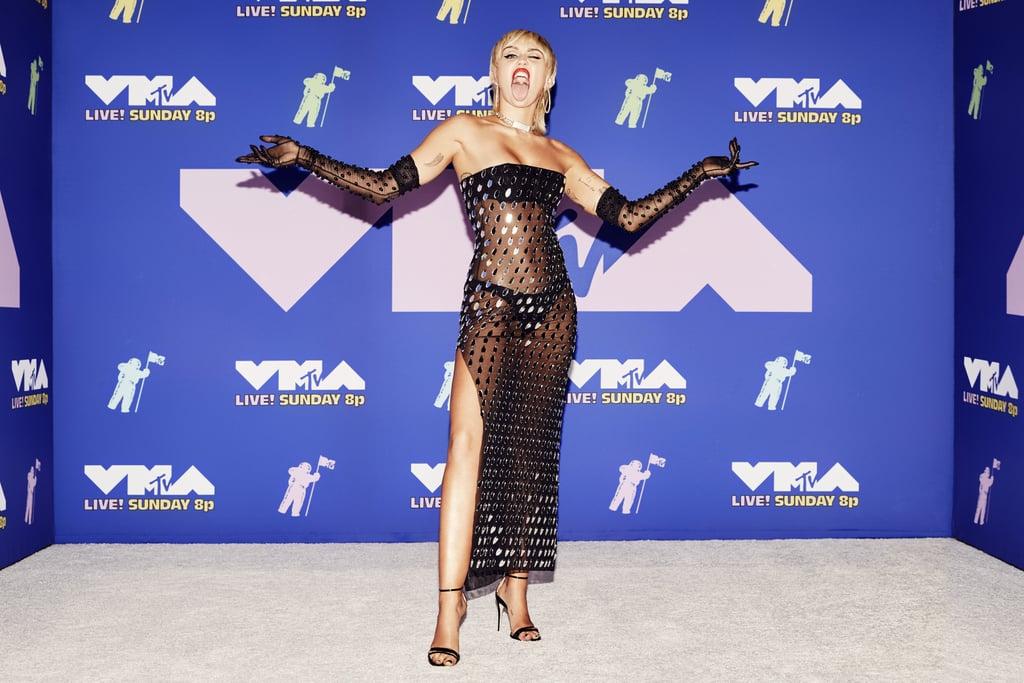 Miley Cyrus Black See-Through Dress at MTV VMAs 2020