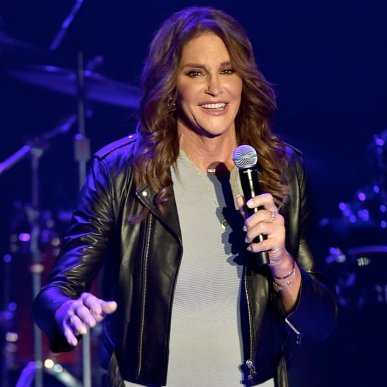 Caitlyn Jenner Wearing Grey Dress and Leather Jacket