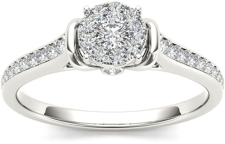 Modern Bride Round Cluster Engagement Ring