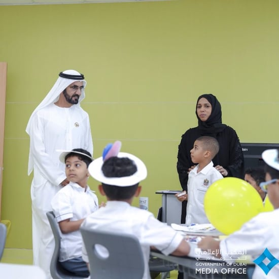 Sheikh Mo Greets Students During First Day of School