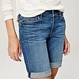 Loft Curvy Rolled Cuff Bermuda Shorts in Bright Mid Indigo Wash ($55)