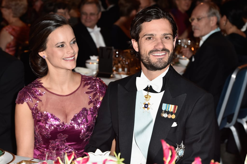 Sofia only had eyes for her fiancé during dinner at Stockholm's City Hall in December 2014.
