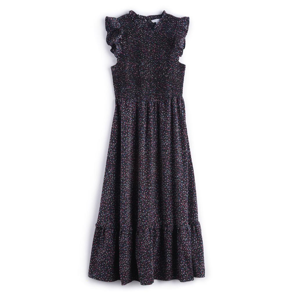 ثوب متوسّط الطول بطبعة النّقاط الصغيرة المنثورة ذو كشكش وثنيات ناعمة