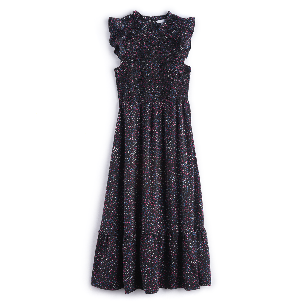 Ruffle Smocked Midi Dress in Sprinkle Dots