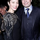 Jimmy Kimmel and Jessica Biel caught up at a party in LA.