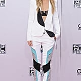 Gigi bared her lacy bra underneath this colorblock Prabal Gurung suit at the American Music Awards in 2014.