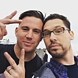 """Channing Tatum, whose new character, Gambit, is rumored to appear in X-Men: Apocalypse, posed with Singer for a selfie. """"Always wanted to work with this guy! ;) #XMen #Gambit,"""" captioned Singer."""