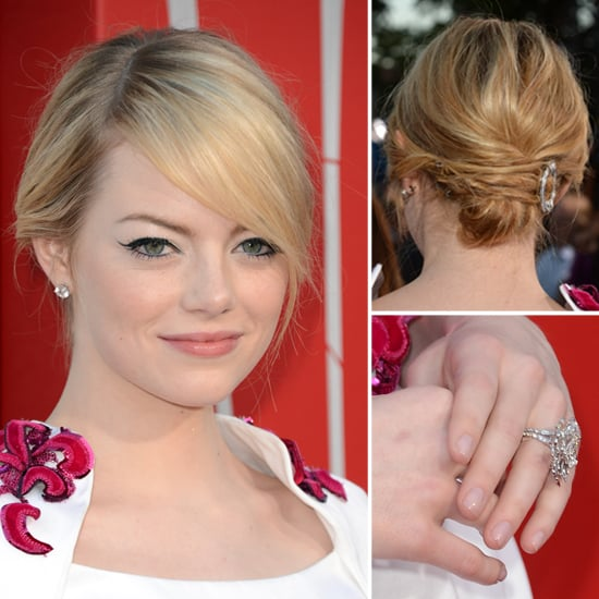 emma stone hair and makeup at spiderman premiere
