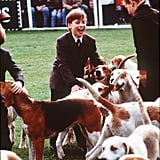 Prince William played with the hound dogs at the Badminton Horse Trials in England in May 1991.