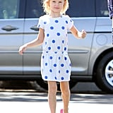 Violet Affleck wore a dress with blue polka dots.