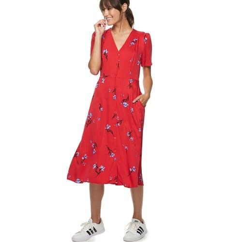 POPSUGAR Button-Up Midi Dress in Iris Bloom