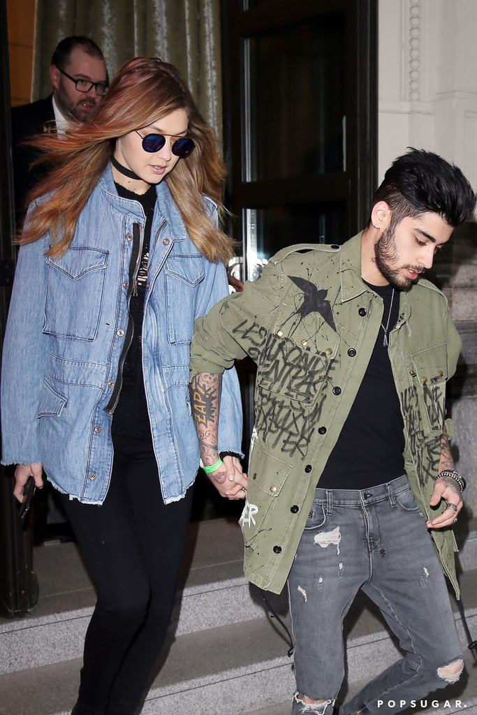When it comes to sharing sweet PDA, Gigi Hadid and Zayn Malik are at the top of their game! On Sunday, while everyone was at the Oscars, the pair was spotted holding hands outside of a hotel in Milan. Zayn put his chivalrous ways on display, leading the way for Gigi and opening the car door for her. Of course, Gigi and Zayn are no strangers to showing off their newfound romance. Ever since they made their relationship Instagram official, the duo has been seen on a handful of date nights and Zayn's even shared a photo of himself kissing the supermodel on Instagram. Read on to see more of the couple, and then let Gigi take you back to the '90s with her epic lip sync battle.