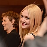 On Wednesday, Dakota Fanning smiled for the camera while doing press at the Very Good Girls premiere at the Sundance Film Festival.