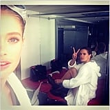 Behind the scenes models Doutzen Kroes and Alessandra Ambrosio trade a model pose in fuzzy robes. Source: Instagram user doutzen