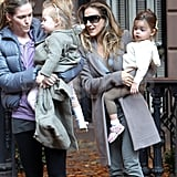 Loretta and Tabitha Broderick hung out with mom Sarah Jessica Parker in NYC.