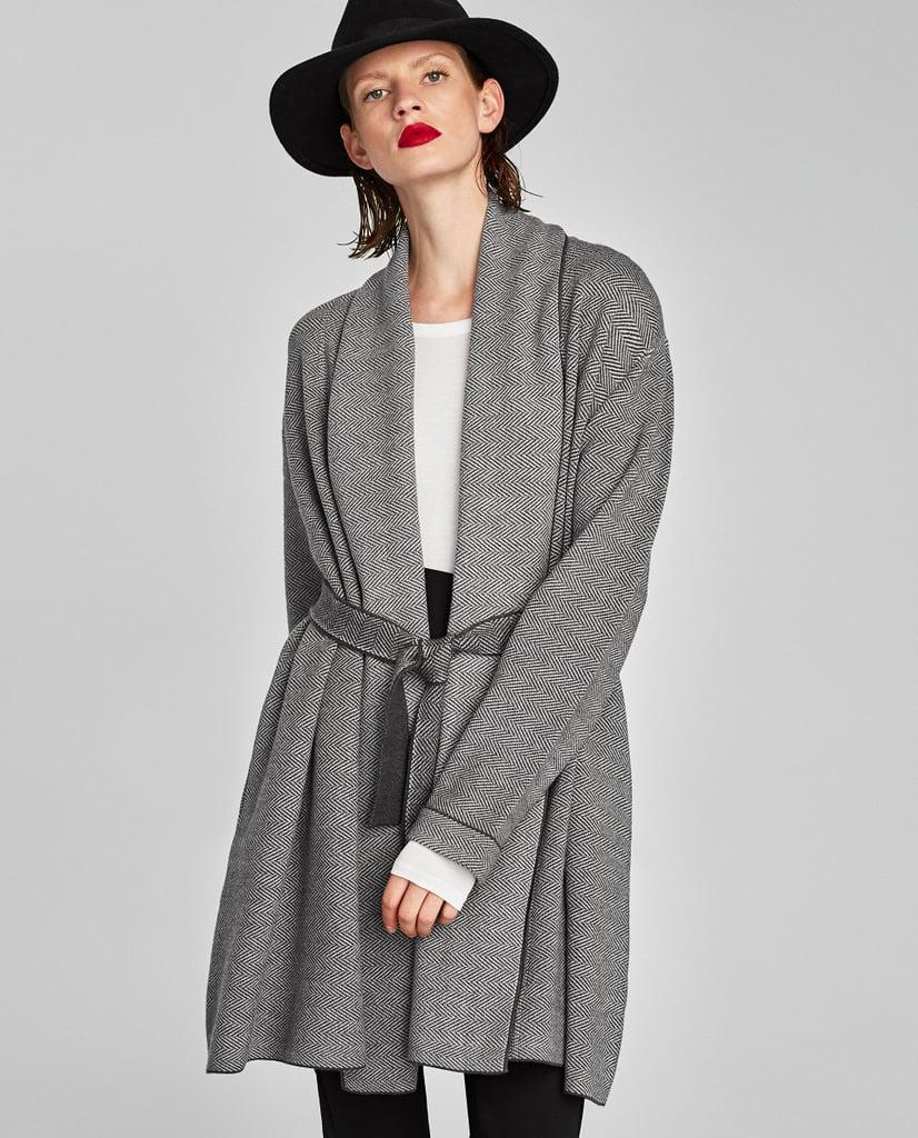 Zara Herringbone Cardigan | Angelina Jolie Wearing Gray Robe ...