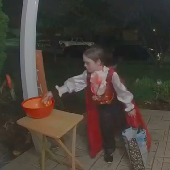 Trick-or-Treater Puts Candy in Empty Bowl on Halloween