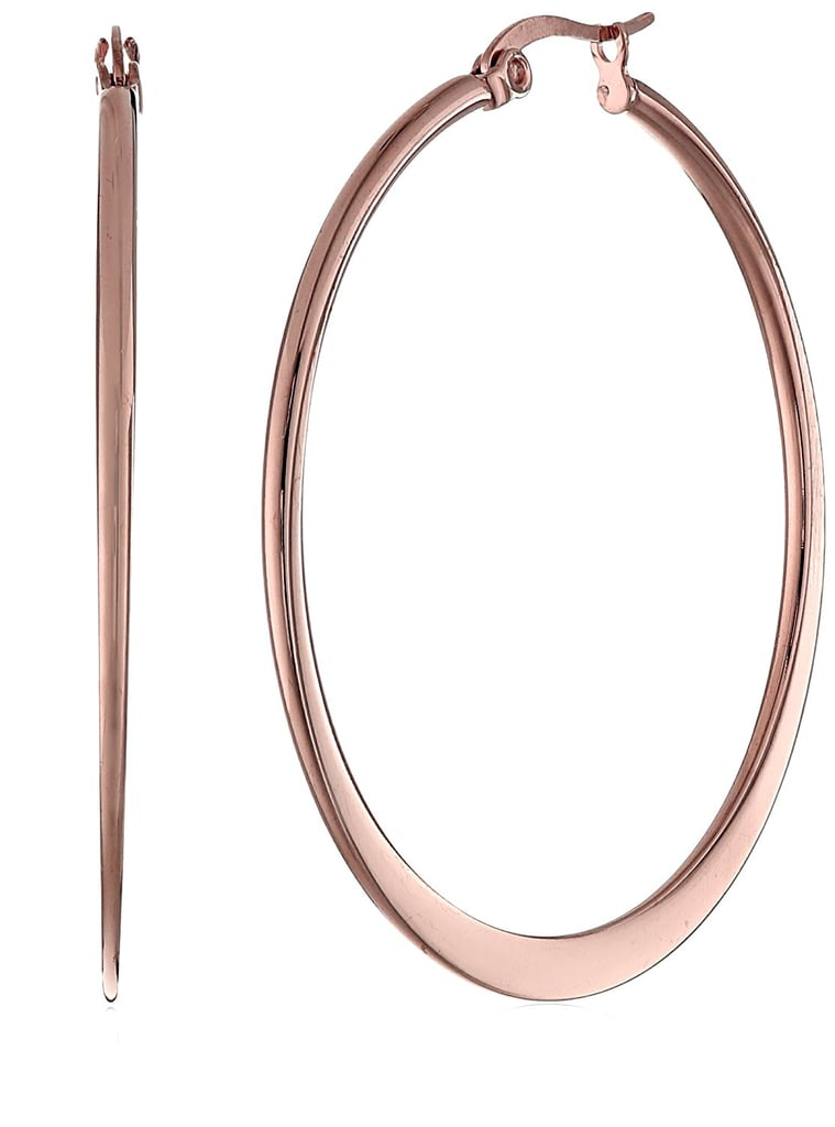 Amazon Collection Stainless Steel Flattened Hoop Earrings