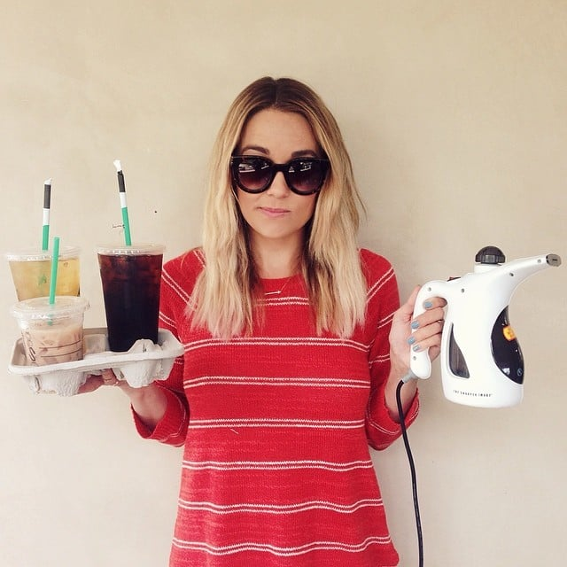 Lauren Conrad felt like an intern while carrying coffee and steaming clothes at a photo shoot. Source: Instagram user laurenconrad
