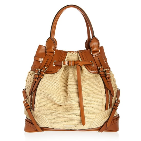 289d12542ed8 Burberry Prorsum Woven Raffia-Effect and Leather Bag