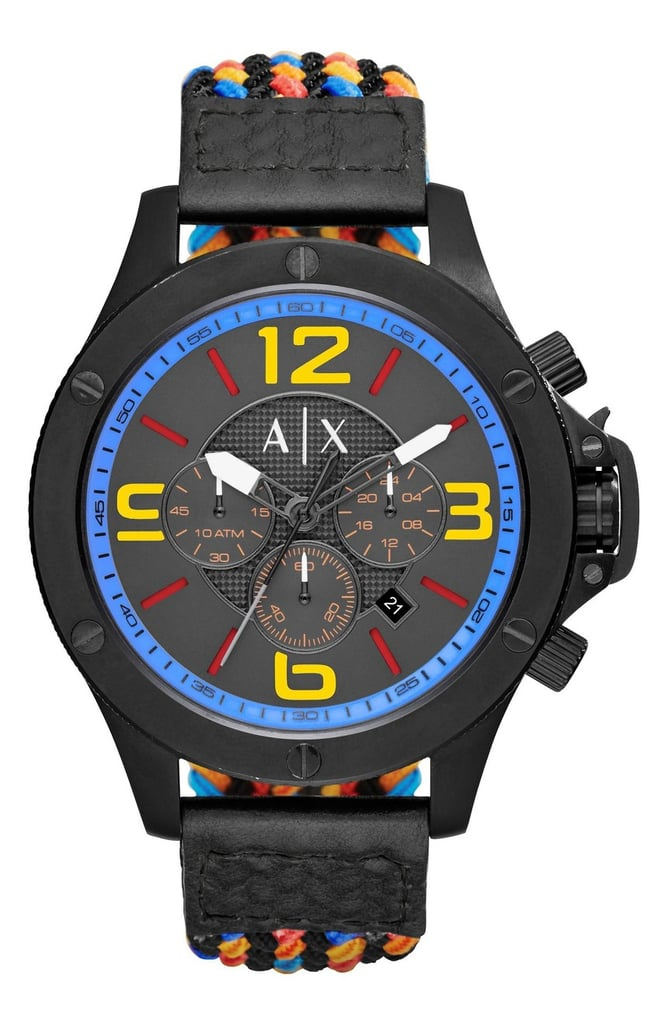 Quirky meets sporty is the AX Armani Exchange Chronograph Woven Cord Strap Watch ($230).