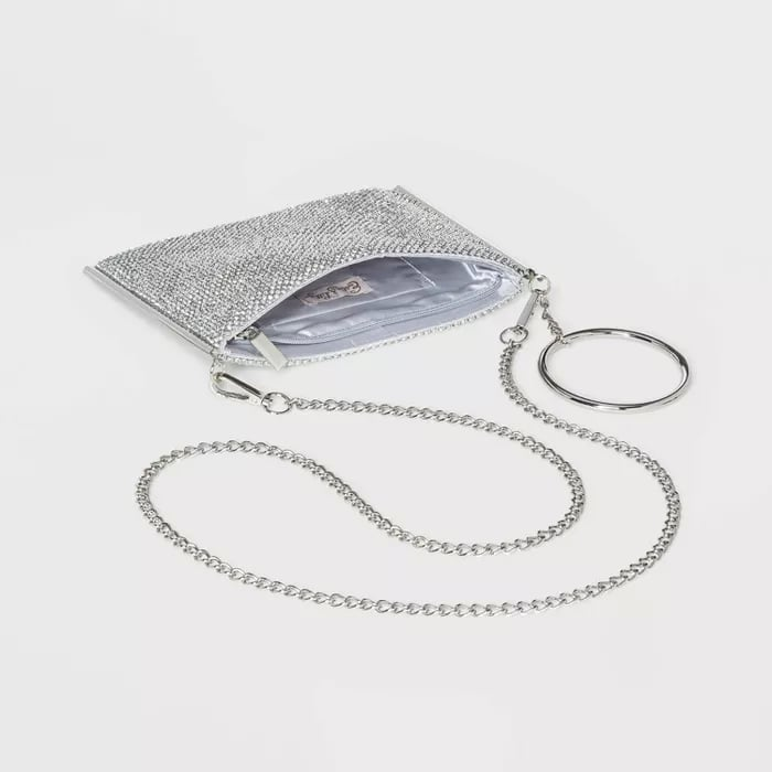 Estee & Lilly Crystal Mesh Zip Top Ring Crossbody Bag