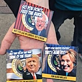 Comedian Eric Yesbick was selling these political condoms outside the convention center — one for $5 or three for $10. He said the Donald Trump ones were the most popular.