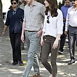 Kate packed her Zara military trousers on her trip to India in 2016.
