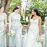 The bride's smile only just out-sparkled her bridesmaids' pale green bejeweled dresses.