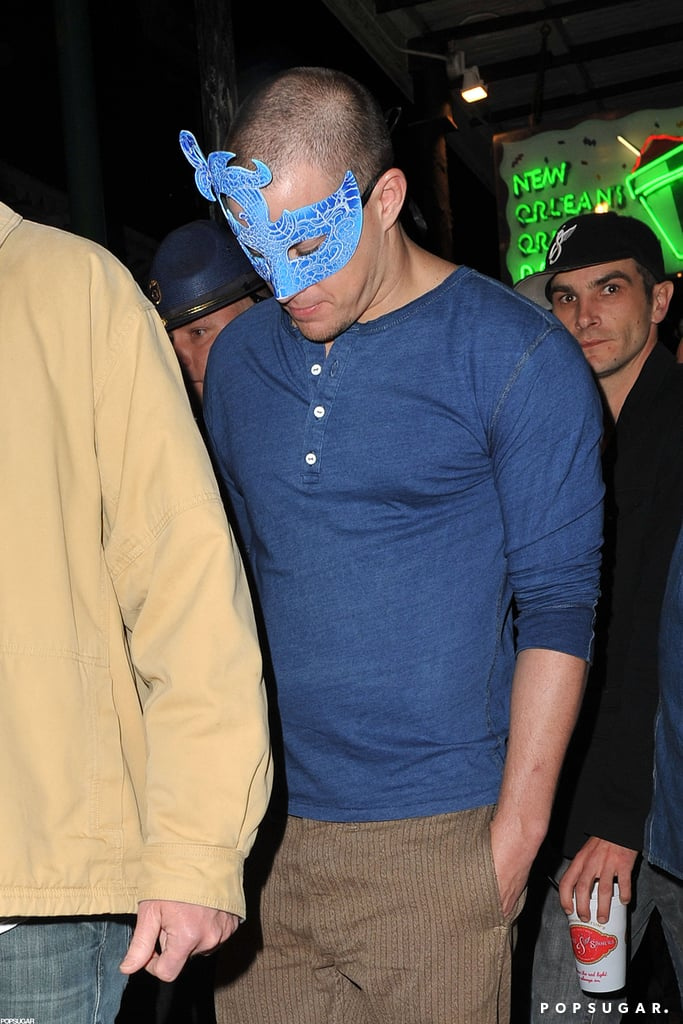 Channing Tatum sported a Mardi Gras mask while celebrating over Super Bowl weekend 2013.