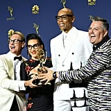 Pictured: Carson Kressley, Michelle Visage, RuPaul Charles, and Ross Matthews