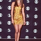 Stepping out in sequins at the '99 Grammy Awards.